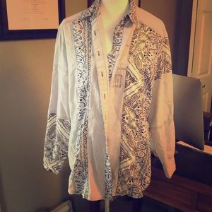 Bandana Print Long Sleeve Button Down Shirt